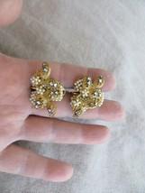 Miriam Haskell 30's Faux Seed Pearls /Rhinestones Wrap Leafs gold tone Earrings - $65.00