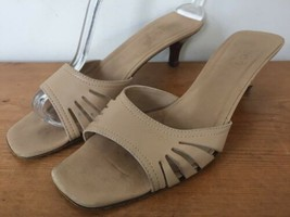Vintage Gucci Tan Beige Leather Open Toed Slip On Kitten Heel Sandals 7.... - $49.99