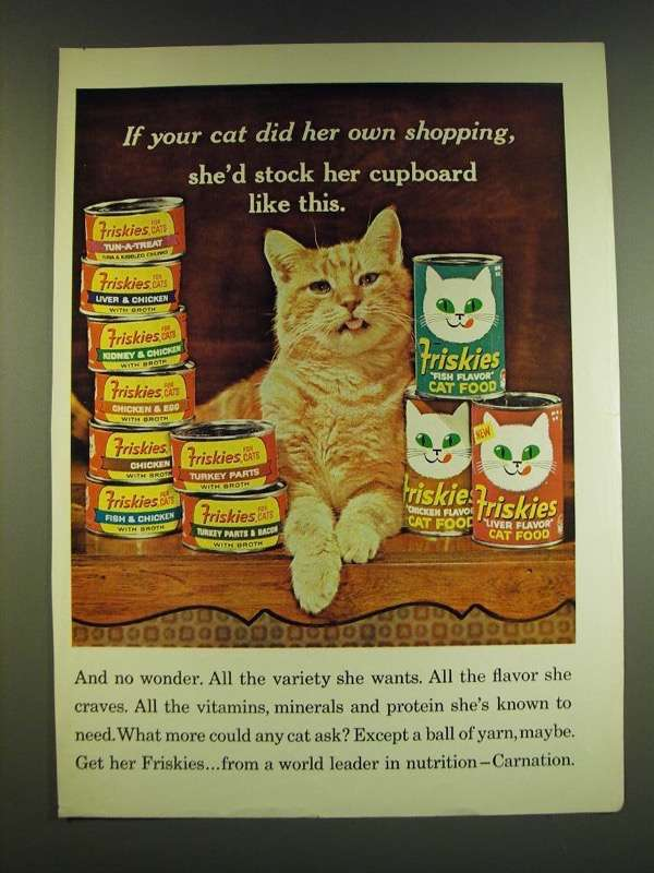 1966 Friskies Cat Food Ad - If your cat did her own shopping, she'd stock