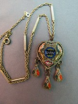 "Micro Mosaic Roma Italian Pendant Necklace Heart Tiny Tiles Dangles 16"" Antique - $48.51"