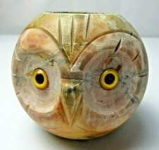 Vintage French Art Deco heavy Glass Eyes Owl Alabaster head pot holder - $49.00