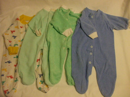 Lot 4 Baby Rompers 0-3 Months Cotton Blend Slumber tot Long Sleeves Cove... - $9.90