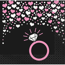 Bachelorette Party Hearts Ring 16 Beverage Napkins Shower Bridal - $2.84