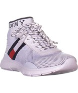 Tommy Hilfiger Cabello Lace Up Sneakers, White Multi Fabric, 7.5 US - $47.99