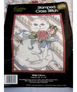 """Golden Bee Picture Counted Cross Stitch Kit White Cat 8"""" X 10"""" Pink Flowers - $10.99"""