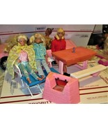 Doll Furniture  - Barbie Dolls - Barbie with Two Friends and outdoor Pat... - $28.00