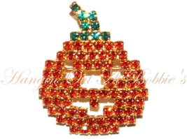 Pumpkin Pin Brooch Orange Green Crystal Small Goldtone Autumn Fall Hallo... - $15.99