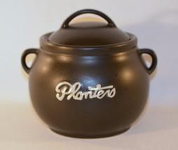 Planters Peanut Nut Cookie Jar Advertizing White Raised Letters on Black - $12.38