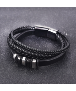 Braided Leather Bracelet Stainless Steel - Anniversary Gifts - Jewelry B... - $19.99