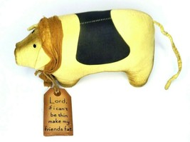 Primitive Plush Piggy Lord Make My Friends Fat Bell & Shawl Rustic Decor Gift - $18.40