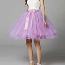 White Pink Tutu Tulle Skirt Puffy 4 Layered Party Full Circle Tulle Skirt Knee  image 12