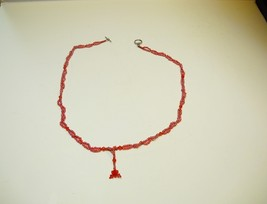 "Hand crafted bead necklace, approx 17 1/2"", red glass beads - $9.99"