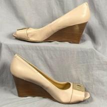 """Nine West Cuir Compensées 3 """" Talon Femmes Taille 7.5 Shoes Bout Ouvert à - $21.55"""