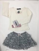 Kate Mack Toddler Girls White Gray Size 3T 2pcs Top & Tutu Skirt Outfit NWT - $33.66