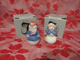 FENTON ART GLASS 2002 FROST FRIENDS PATRIOTIC SNOWMAN & SNOWLADY FIGURINES - $125.00