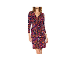 $99 Anne Klein Faux-Wrap Animal-Print Dress Light African Violet Combo 12 - $68.30