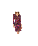$99 Anne Klein Faux-Wrap Animal-Print Dress Light African Violet Combo 12 - $68.30