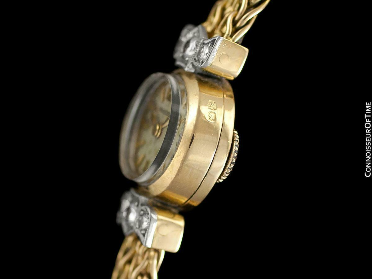 1950's JAEGER-LECOULTRE Vintage Ladies Backwind 18K Gold & Diamond Watch - Warra image 5