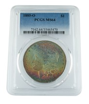 1885-O $1 Morgan Silver Dollar Graded by PCGS as MS64 **RAINBOW OBVERSE** - $395.99