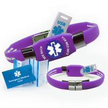 Waterproof ELITE USB Medical Alert ID Bracelet, 2 GB USB - (Purple) - $42.95