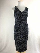 INC International Concepts Gray Cheetah Stretch Fit Sheath Dress Size Me... - $23.31