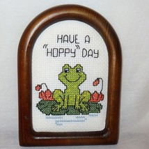 New Frog Picture Plaque Have a Hoppy Day Finished Cross Stitch Handmade ... - $15.89