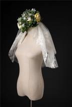 Ivory Shoulder Length Wedding Bridal Veils Layer Floral Lace Tulle Bridal Veils  image 9