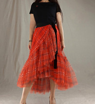 Women High Waist Wrap Tulle Skirts Red Plaid Wrap Skirt Tulle Party Formal Skirt image 4