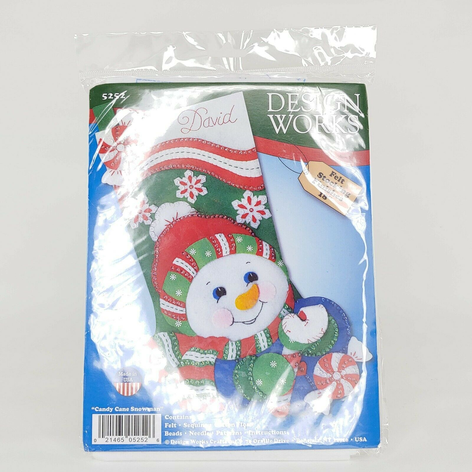 "Primary image for Design Works Felt Stocking Applique Kit 18"" Long-Candy Cane Snowman, DW5252"