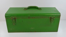 Vintage Metal Tool Box Green 19 x 8 x 7.5 Red Repainted Green Decor Shabby - $39.99