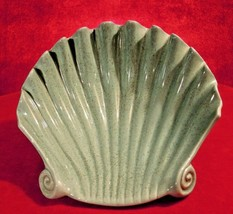 Red Wing Pottery Dish Shell M-1567 1950s Green 9 inch - $74.25