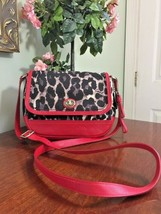 Coach Crossbody Bag Park Ocelot Leather Fabric Red Black  F24103 B2F - $78.39