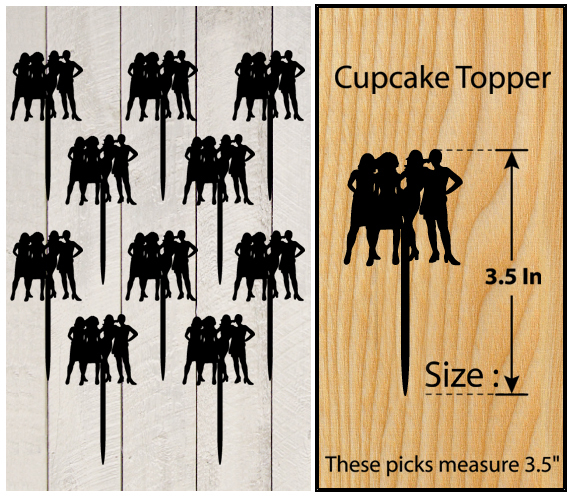 Mo10 Decorations cupcake toppers sex and the city silhouette Package : 10 pcs