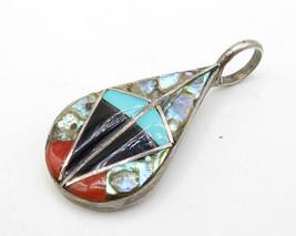 925 Sterling Silver - Vintage Petite Teardrop Of Multi-Gemstones Pendant... - $53.44