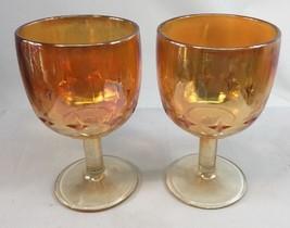 Vintage Marigold Indiana Carnival Glass Atomic Star Goblet Orange Irides... - $28.70