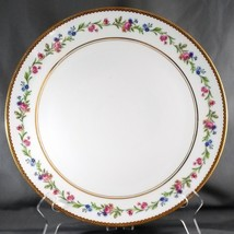 "Raynaud Country Flowers Chop Plate White Limoges Pink Blue Floral Gold Trim 11"" - $40.61"