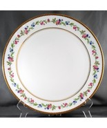 Raynaud Country Flowers Chop Plate White Limoges Pink Blue Floral Gold T... - $40.61