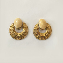 """Vintage Faux Marble Gold Tone Clip On Hanging Earrings 1.5"""" - $24.99"""