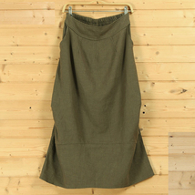 Women Linen Cotton Boho Skirts Casual Linen Skirt, Army Green Black,  One Size image 1