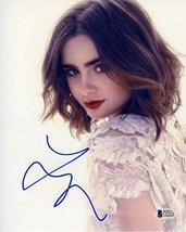 Lily Collins Cute Signed 8x10 Photo Certified Authentic Beckett BAS COA - $168.29