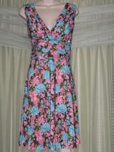 8/10 M Karin Stevens Floral V-Neck A-Line Knee Lenght Formal Pink Blue D... - $38.99
