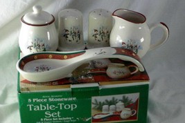 Royal Seasons 1999 Snowman With Gold Dot Band 5 Piece Table Top Set - $10.39