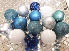 Coastal Beach Christmas MINI Plastic Ball Aqua Blue Silver Ornaments Set... - $22.99