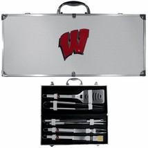 wisconsin badgers 8 pc tailgater stainless steel bbq set with metal case - $126.34