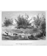 NIAGARA RIVER Rapids above Falls - Antique Print Engraving - $7.27