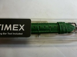 Timex Replacement Watch Band - Green - Embossed Genuine Leather - $9.89