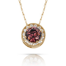 1.90Ct Created Diamond & Alexandrite Round Halo Charm Chain Pendant 14K ... - $69.28+