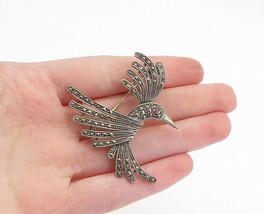 925 Sterling Silver - Vintage Marcasite & Topaz Humming Bird Brooch Pin ... - $36.63