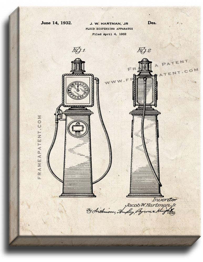 Primary image for Gas Pump Dispensing Apparatus Patent Print Old Look on Canvas