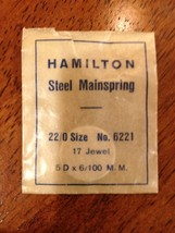 NOS Genuine Hamilton mainspring 22/0 size part #6221 17J 5D .065 - $4.95